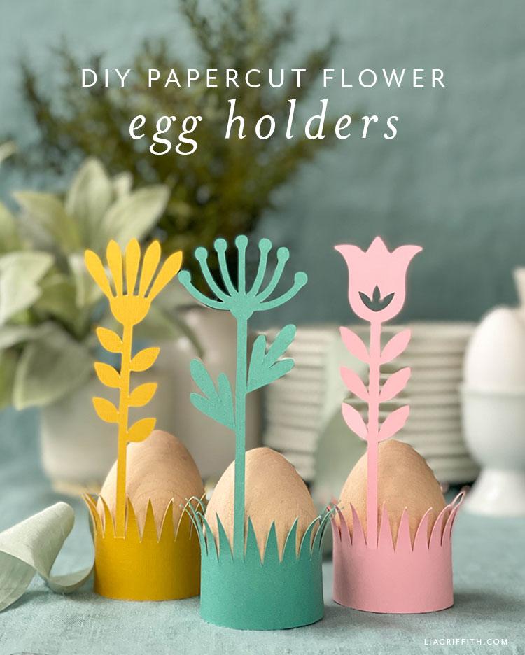 DIY papercut çiçek yumurta tutucular