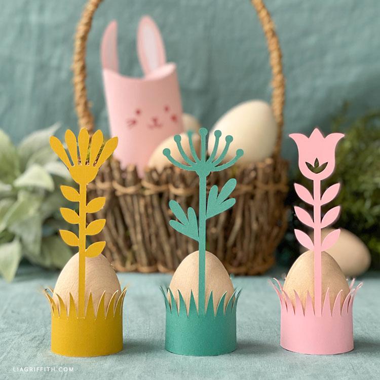 papercut çiçek Paskalya yumurtası tutucular