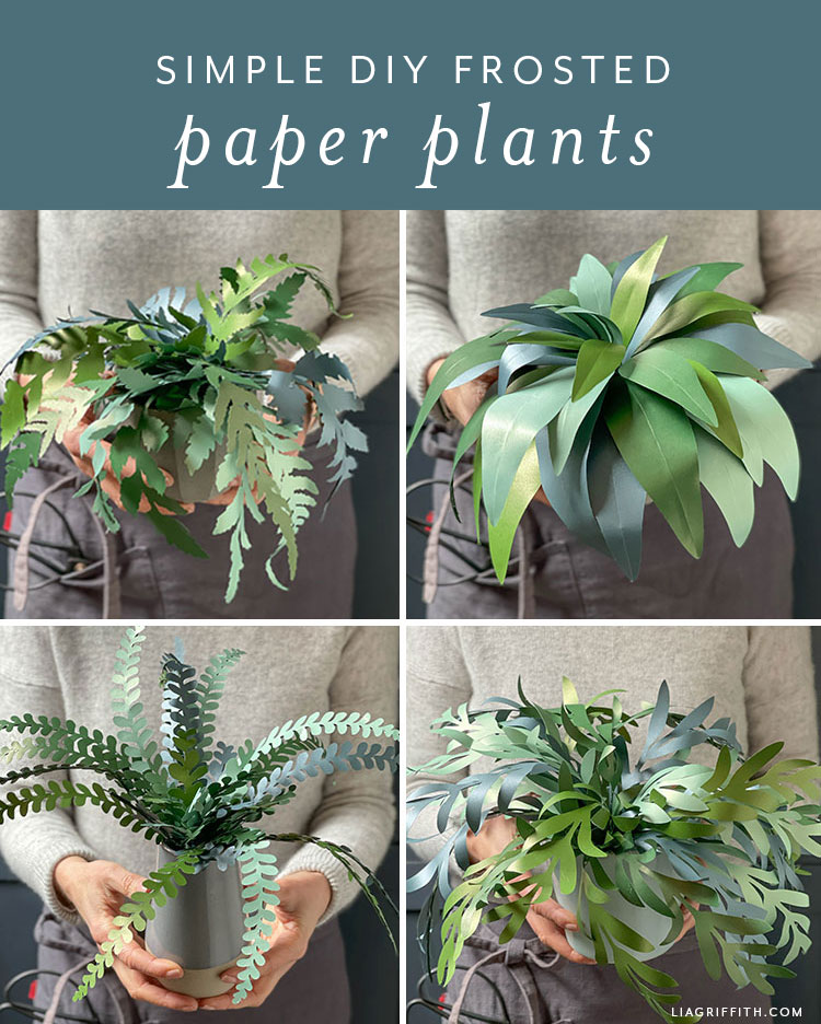 simple DIY frosted paper plants