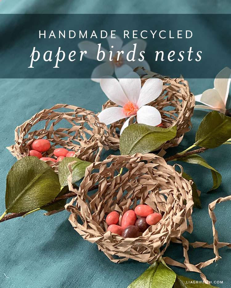 handmade recycled paper birds nests