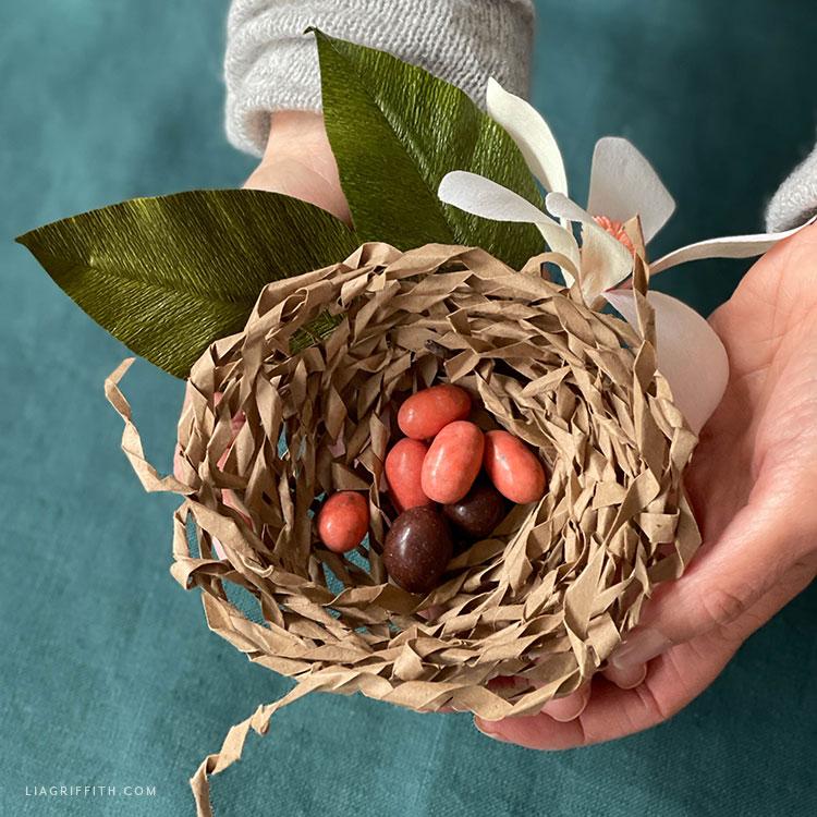 recycled paper bag bird nest