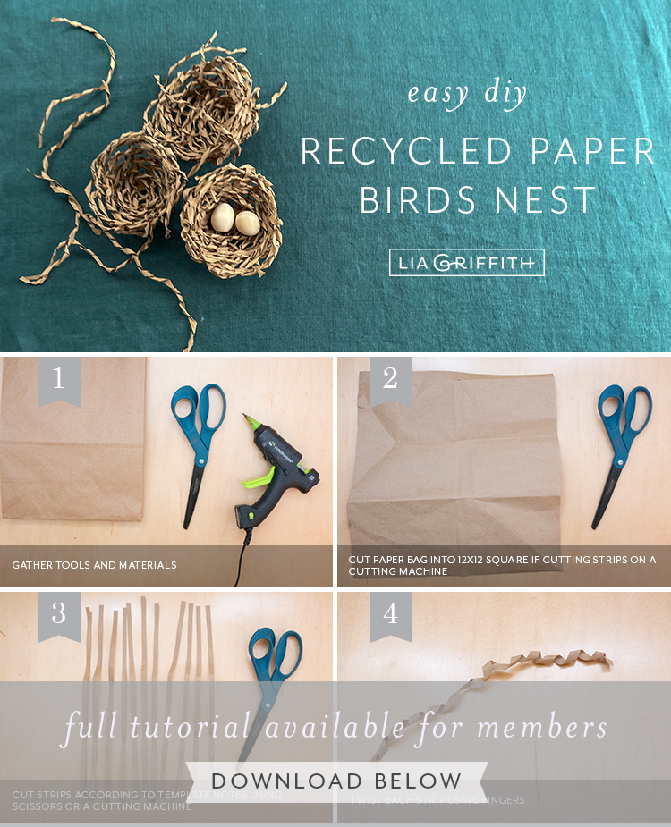 photo tutorial for recycled paper birds nest by Lia Griffith