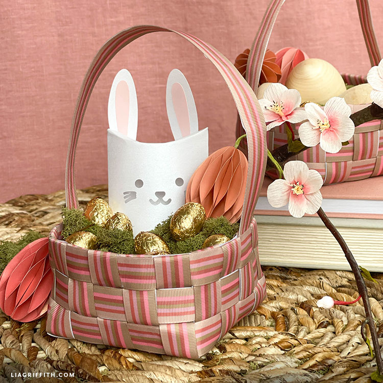 ribbon Easter basket with paper bunny and paper eggs