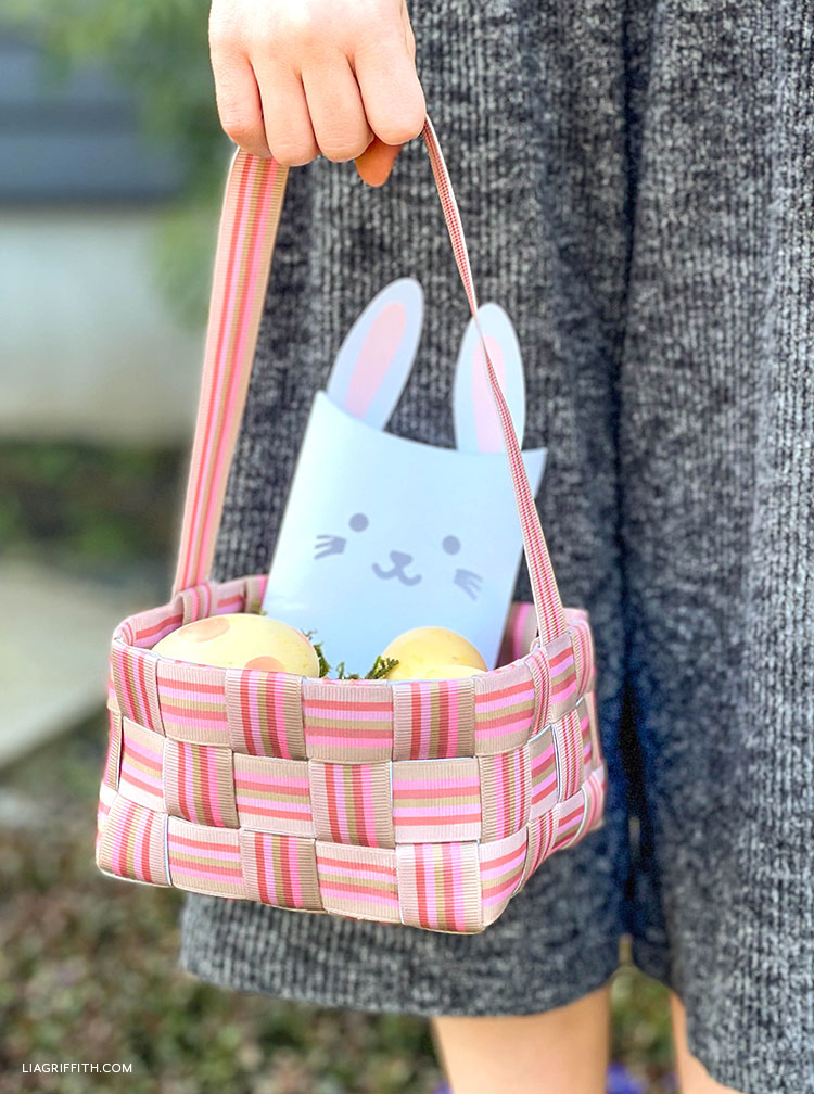 handwoven ribbon Easter basket