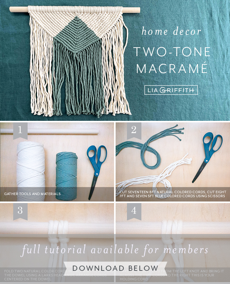 photo tutorial for two-tone macrame wall hanging by Lia Griffith