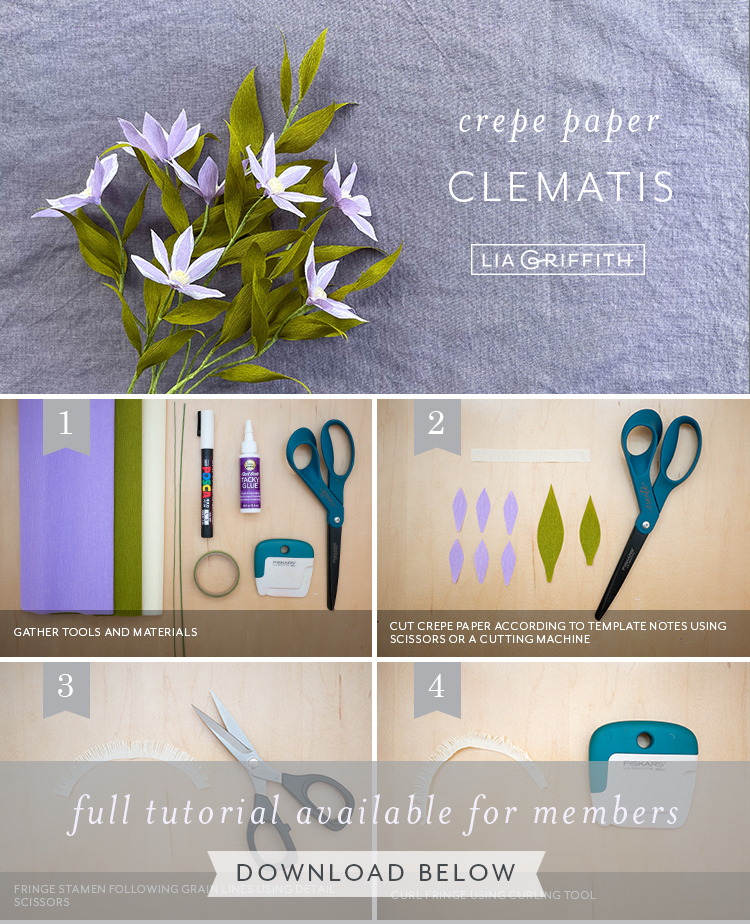 Photo tutorial for crepe paper clematis by Lia Griffith