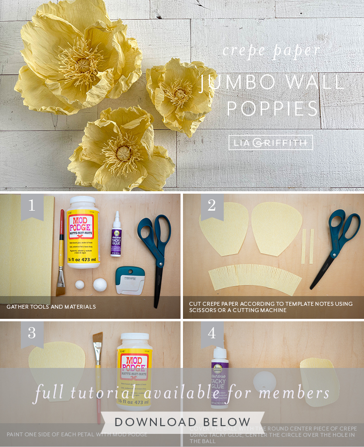 Photo tutorial for jumbo crepe paper poppies by Lia Griffith