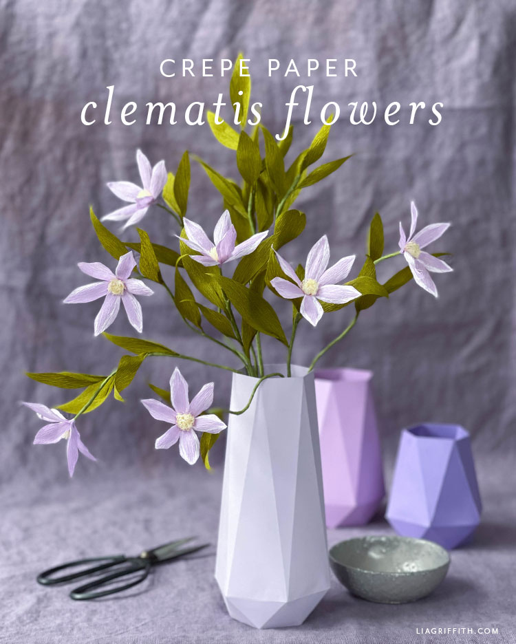 crepe paper clematis flowers