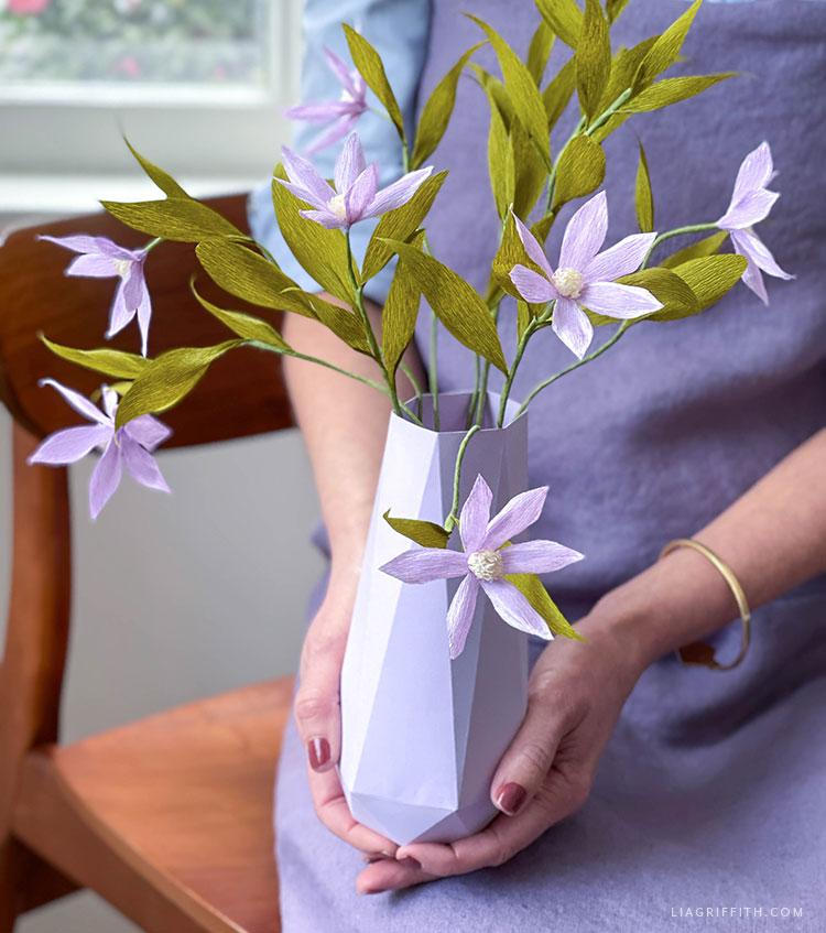 handmade crepe paper clematis in paper geometric vase