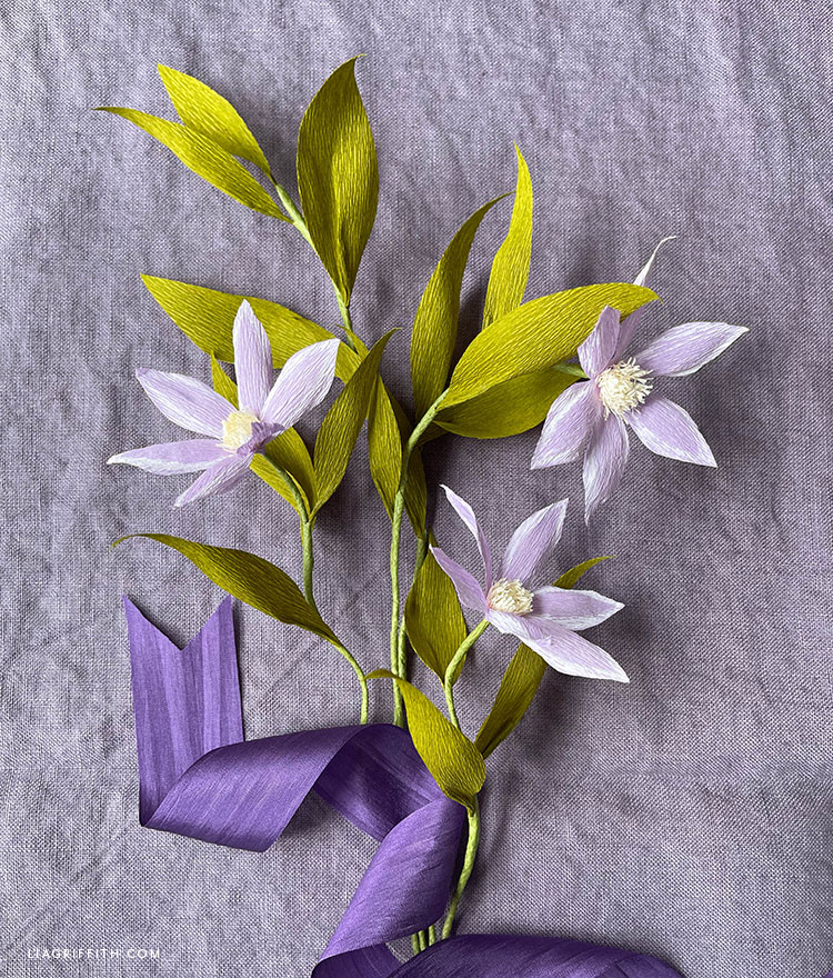 crepe paper clematis flowers and leaves