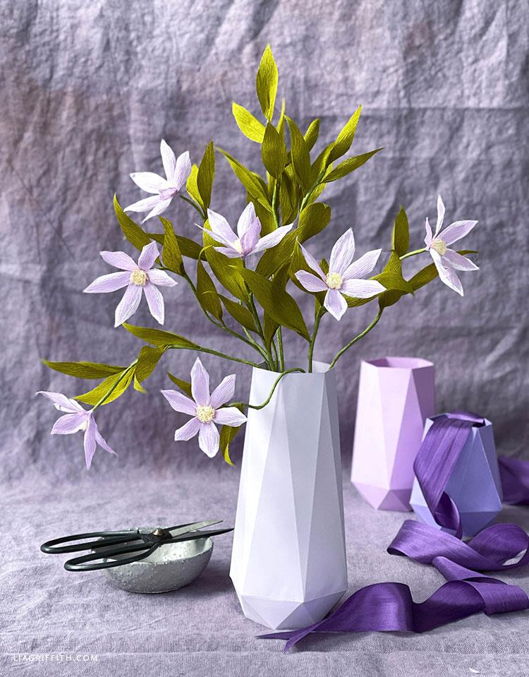 crepe paper clematis bouquet