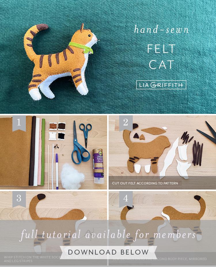handmade felt cat photo tutorial by Lia Griffith