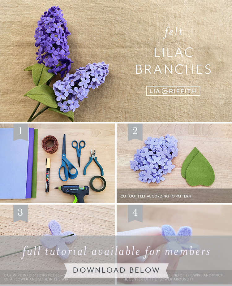 Felt lilac branches photo tutorial by Lia Griffith