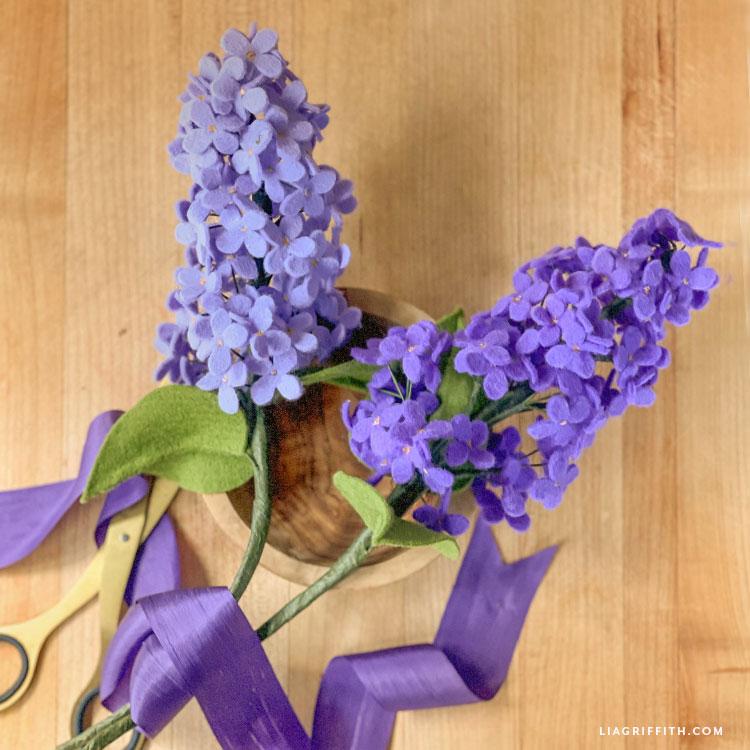 purple felt lilacs
