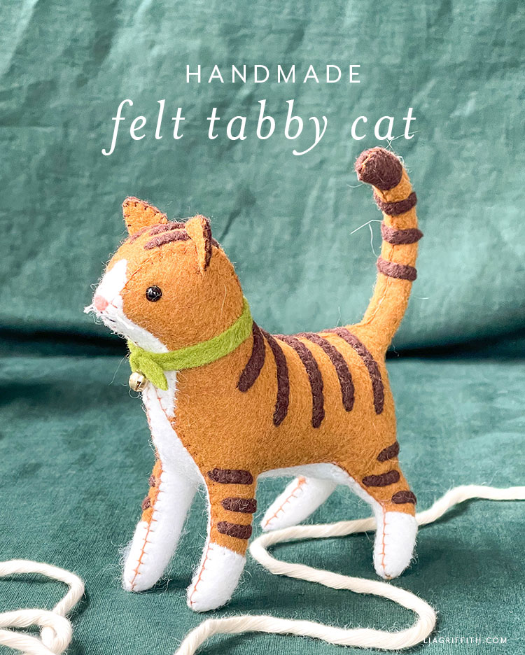 handmade felt tabby cat