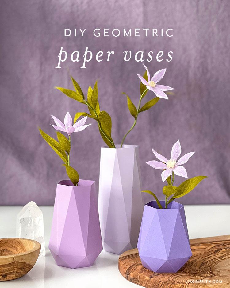 DIY geometric paper vases