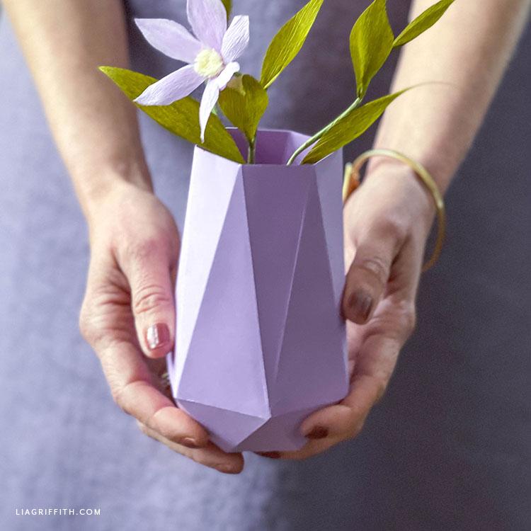 geometric paper vase
