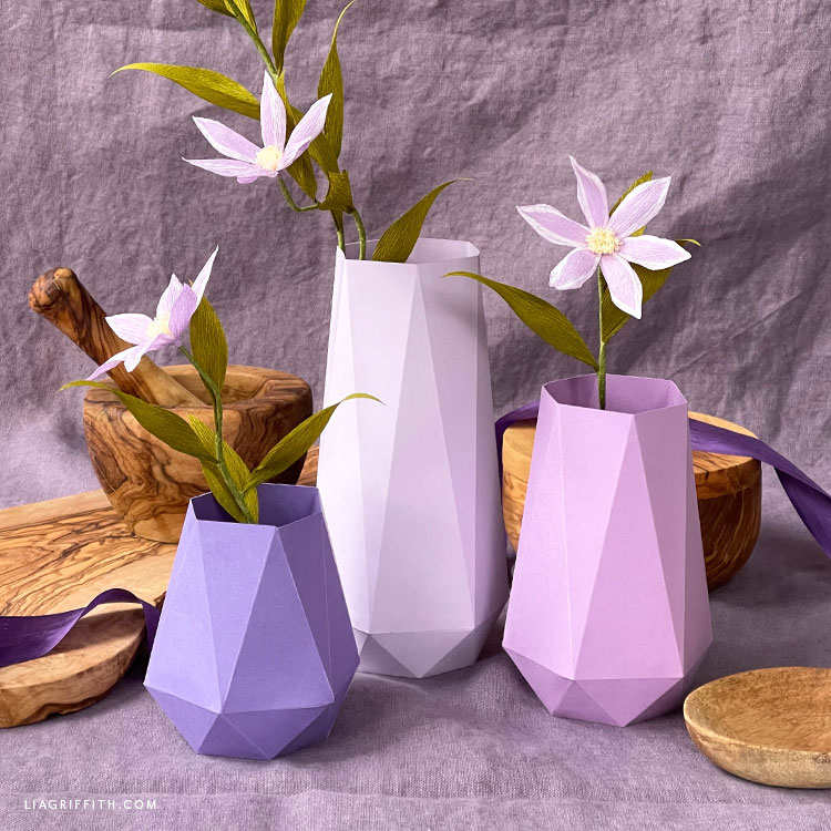 handmade paper vases with crepe paper flowers