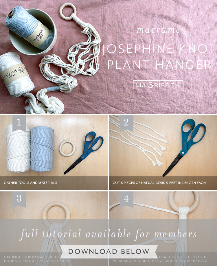 Photo tutorial for Josephine knot macrame plant hanger by Lia Griffith