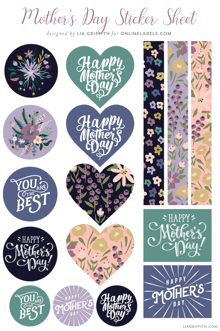 Mother's Day sticker sheet by Lia Griffith for Online Labels