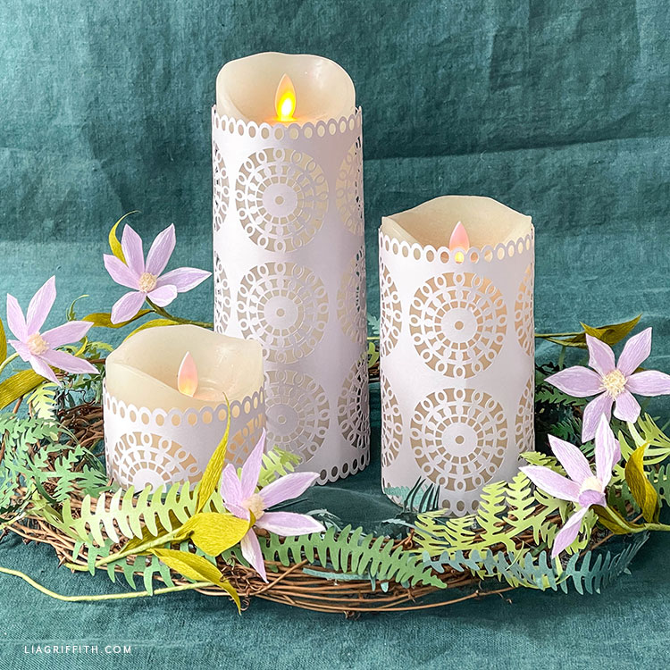paper lantern centerpiece with DIY fern wreath and crepe paper clematis