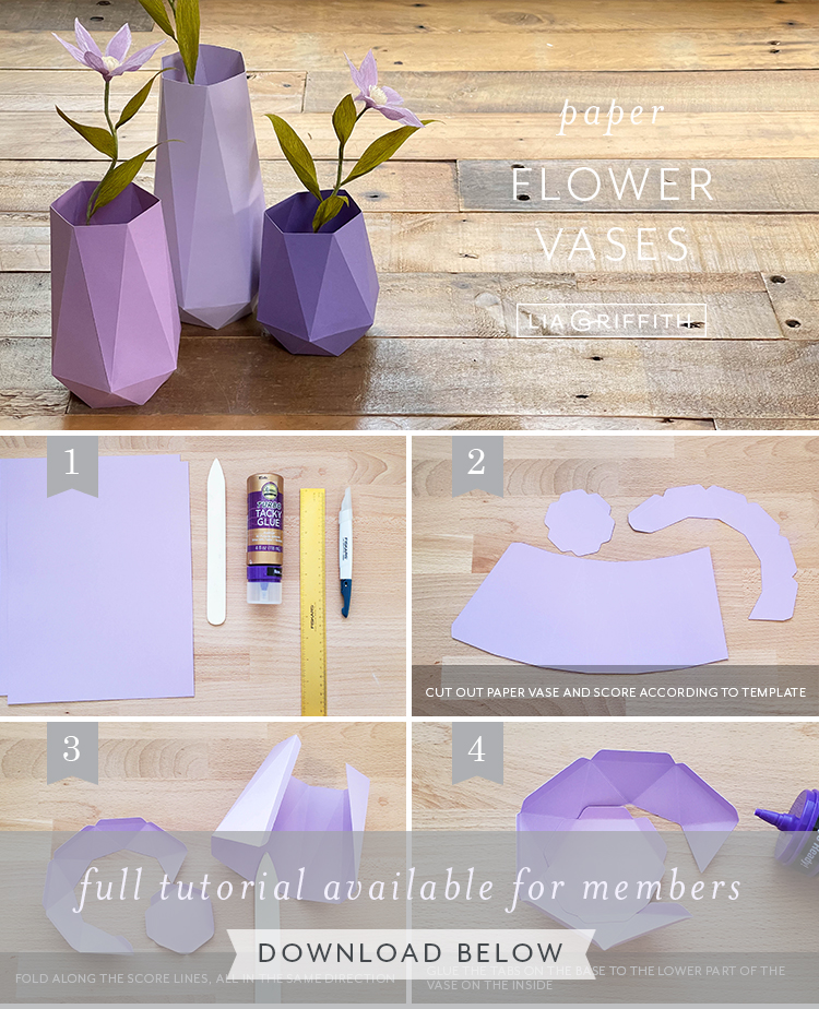 paper flower vases photo tutorial by Lia Griffith
