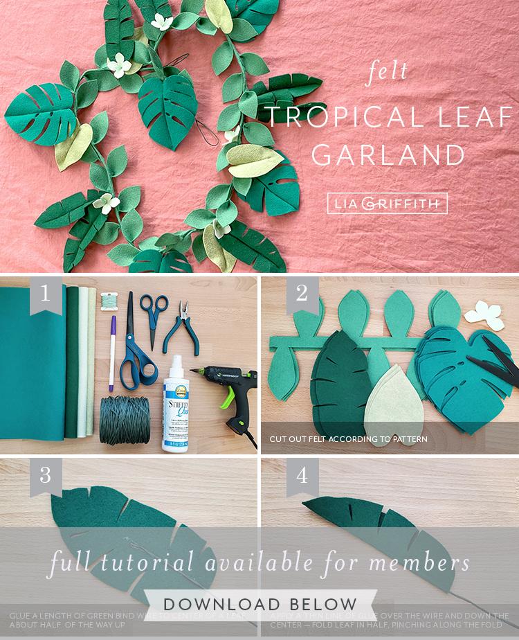 Photo tutorial for felt tropical leaf garland by Lia Griffith