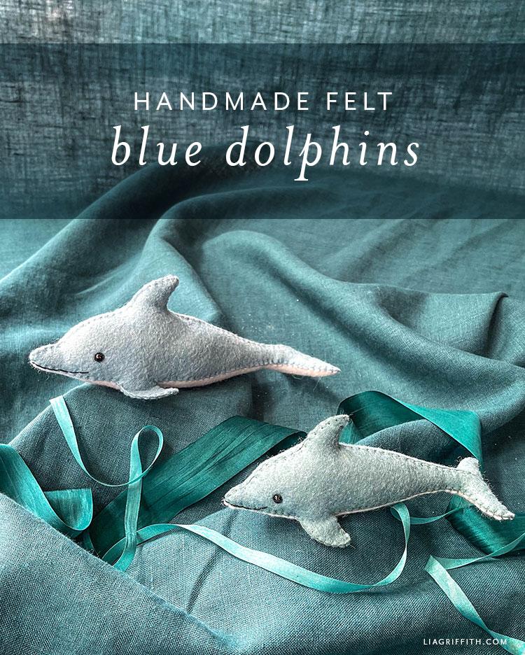 handmade felt blue dolphins