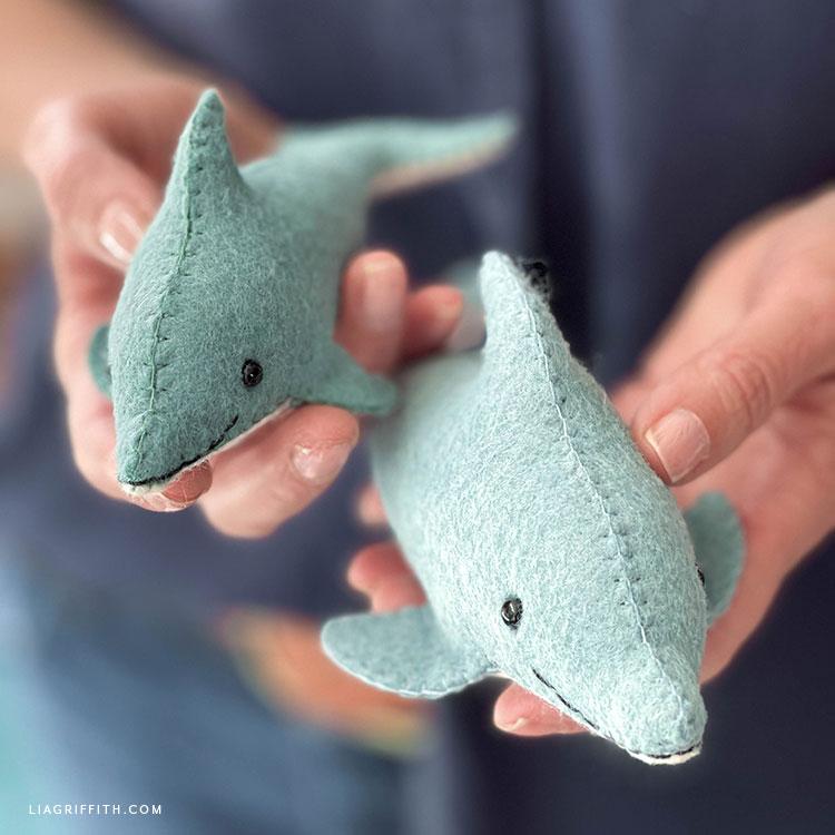 handmade felt dolphins