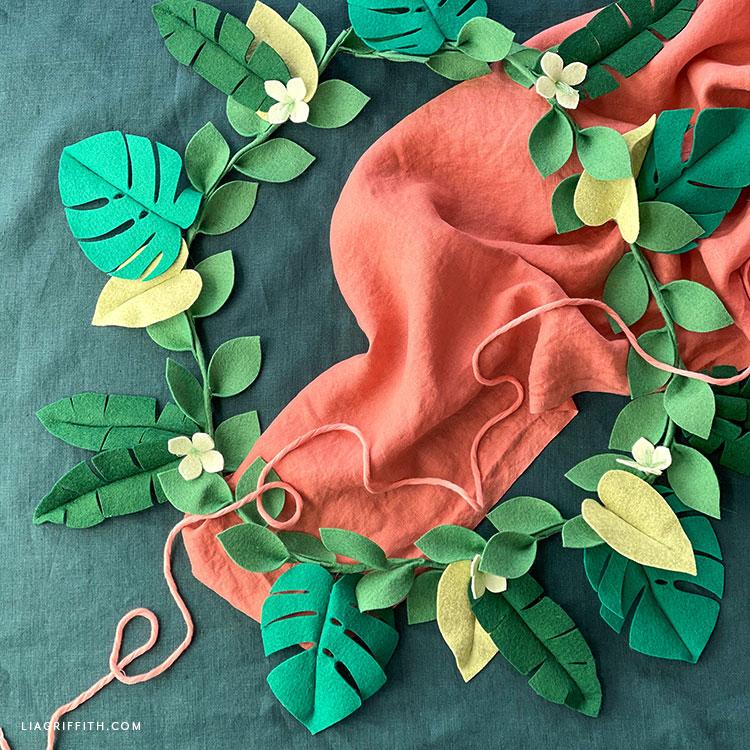 DIY felt tropical leaf garland