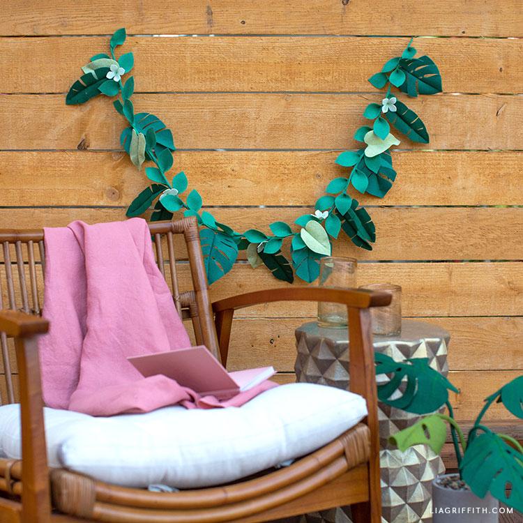 felt tropical leaf garland