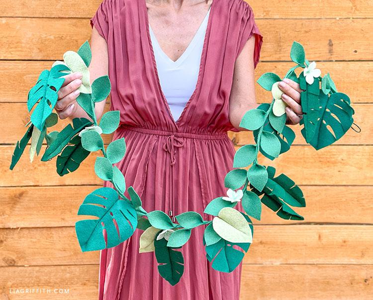 handmade felt tropical leaf garland