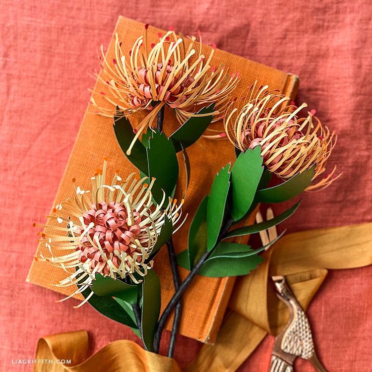 DIY frosted paper pincushion protea