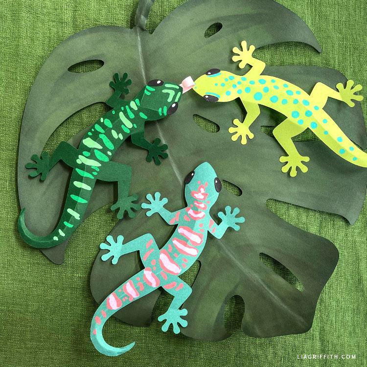 DIY paper geckos