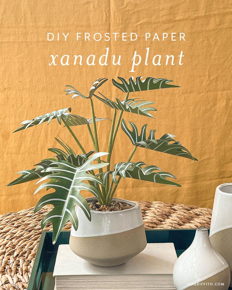 DIY frosted paper xanadu plant