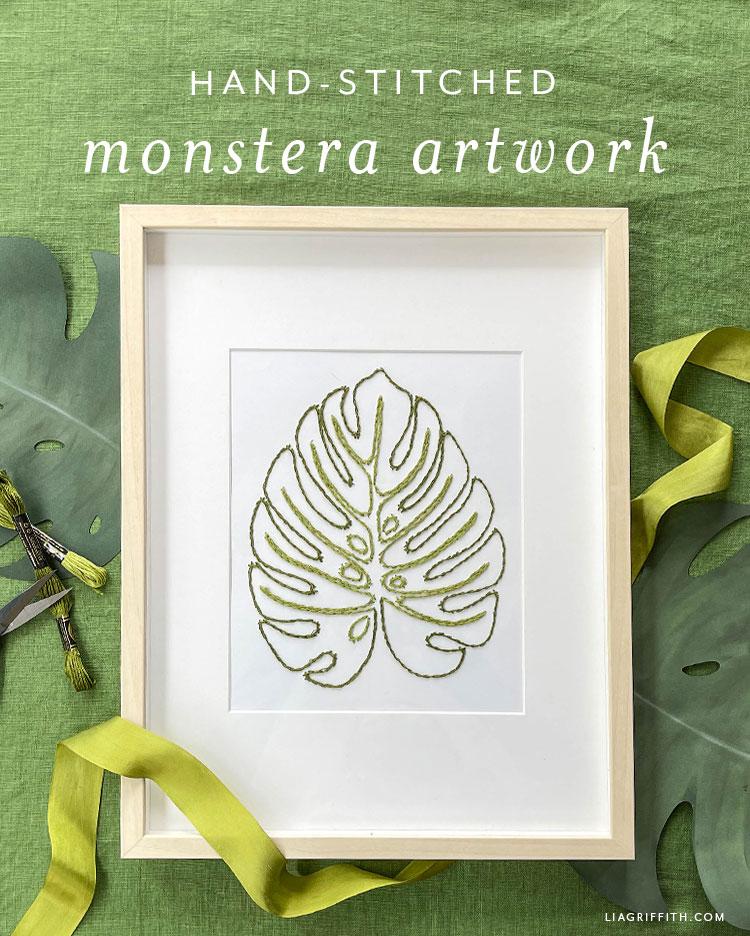 hand-stitched monstera artwork