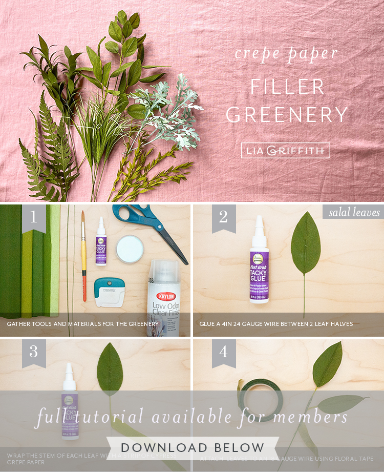 crepe paper filler greenery photo tutorial by Lia Griffith