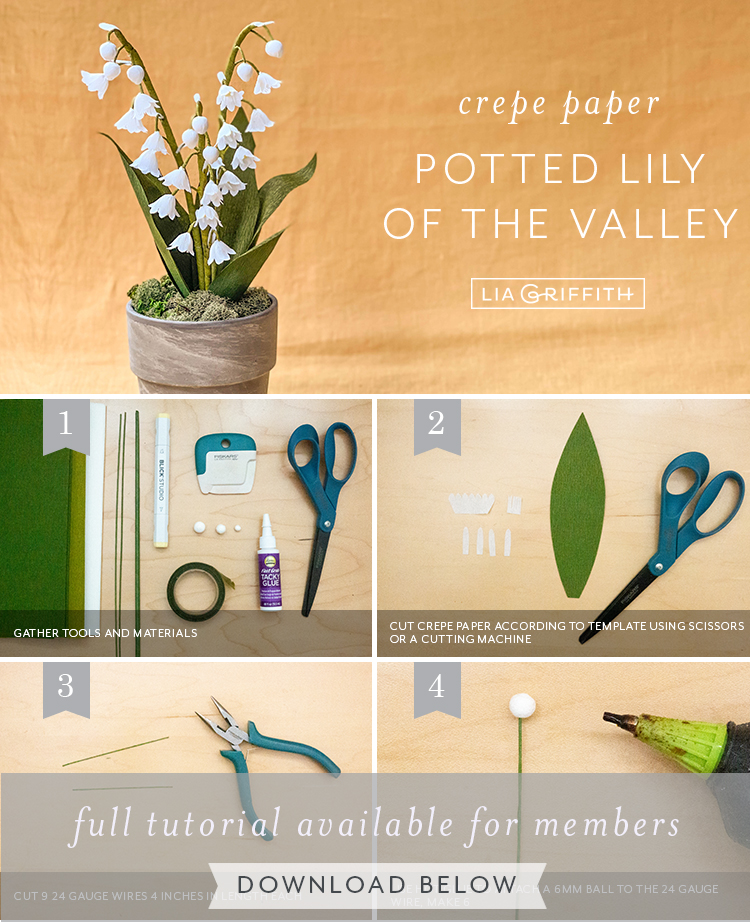 crepe paper potted lily of the valley by Lia Griffith