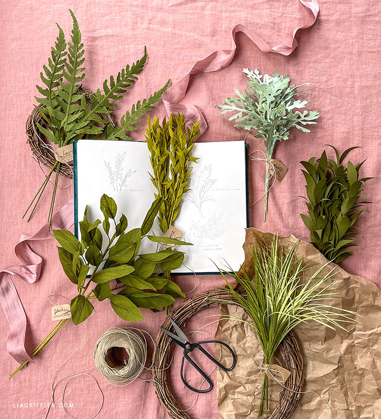 crepe paper greenery for paper flower bouquets