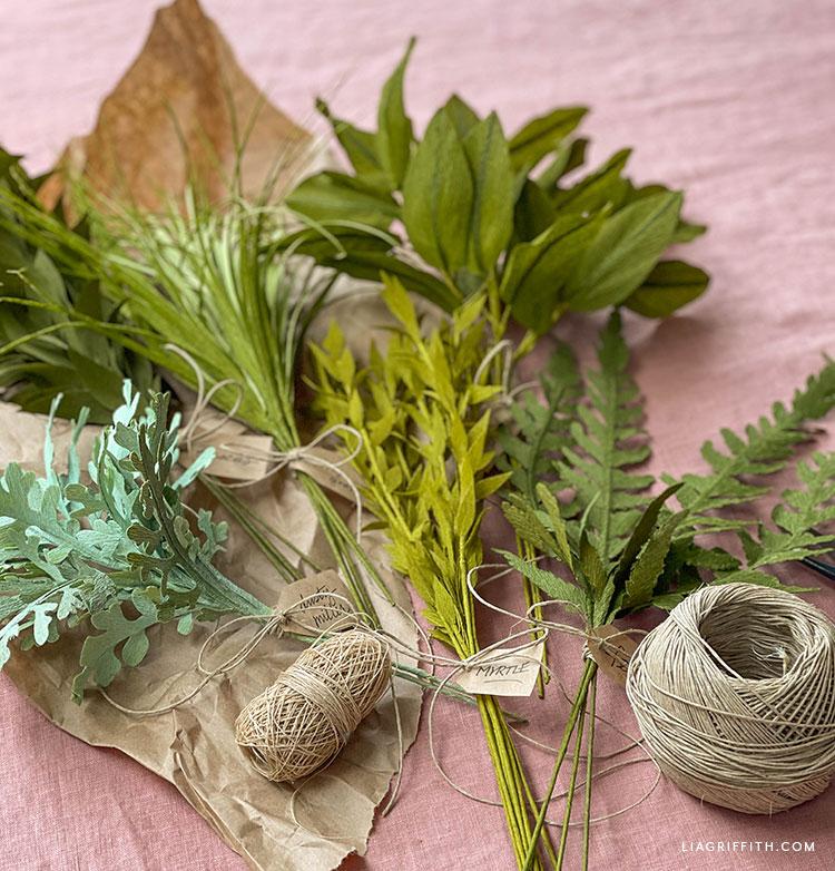 DIY crepe paper greenery filler