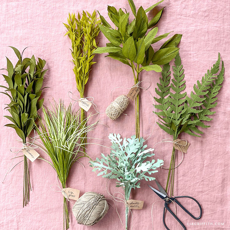 crepe paper greenery for paper bouquets