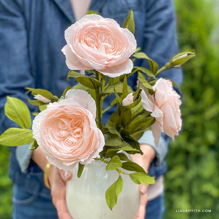 DIY crepe paper Juliet rose bouquet