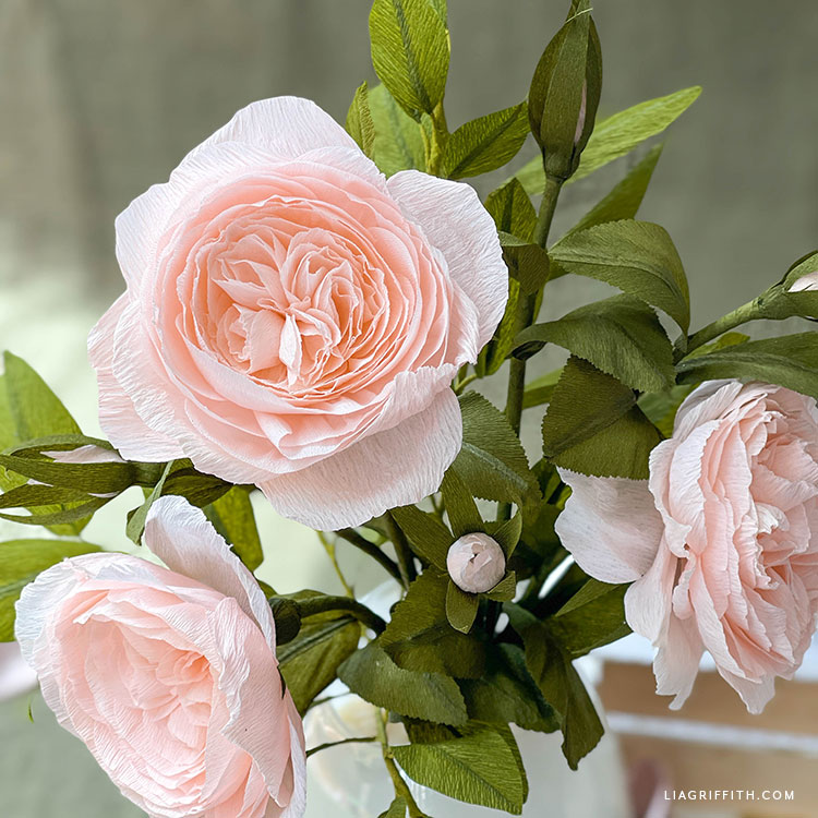 crepe paper Juliet rose bouquet