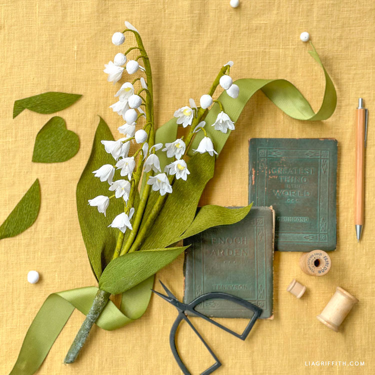 DIY crepe paper lily of the valley