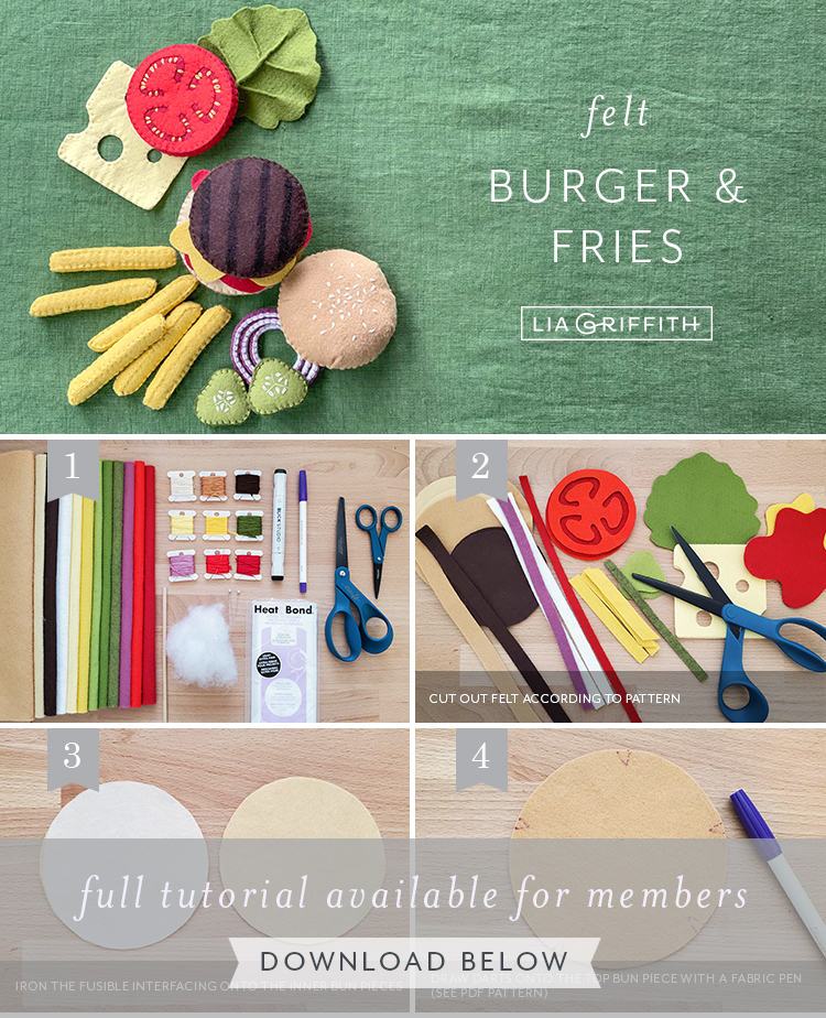 felt burger and fries photo tutorial by Lia Griffith