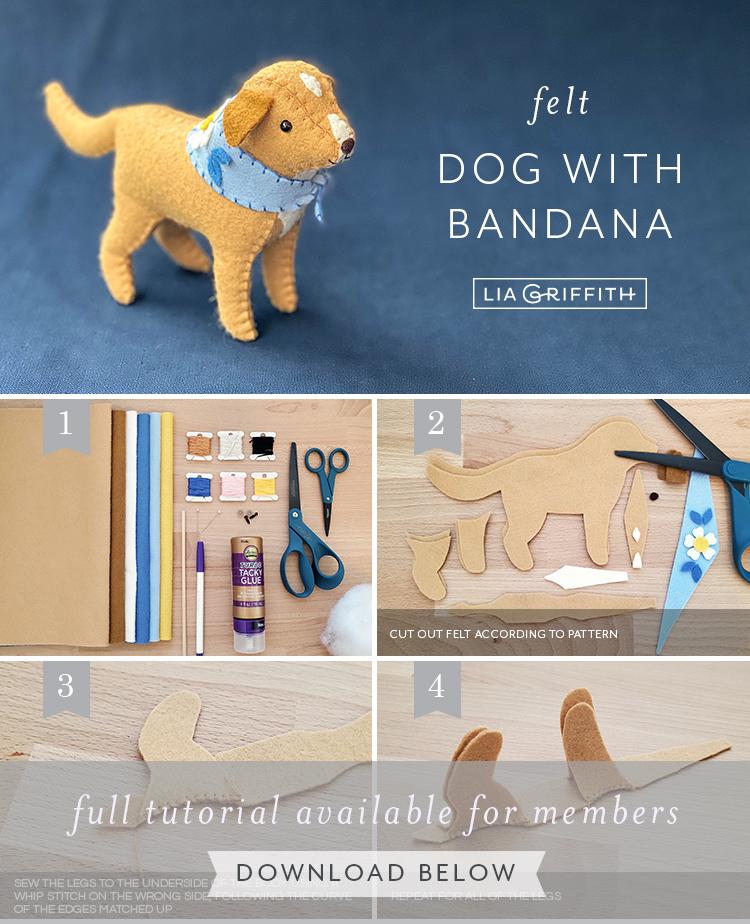 felt dog with bandana by Lia Griffith