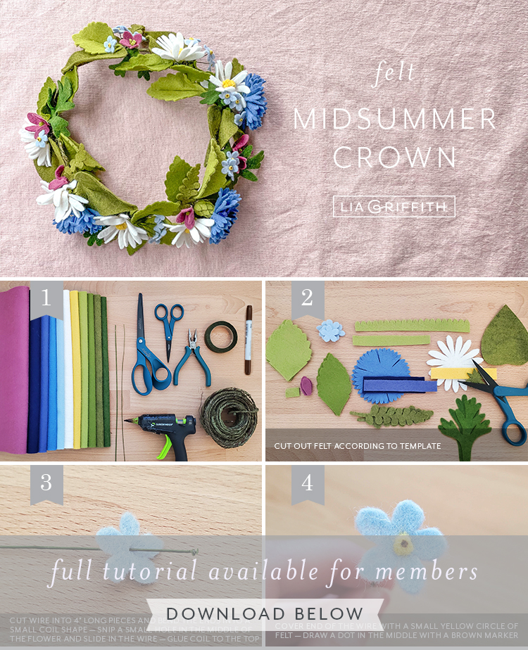 photo tutorial for felt midsummer crown by Lia Griffith