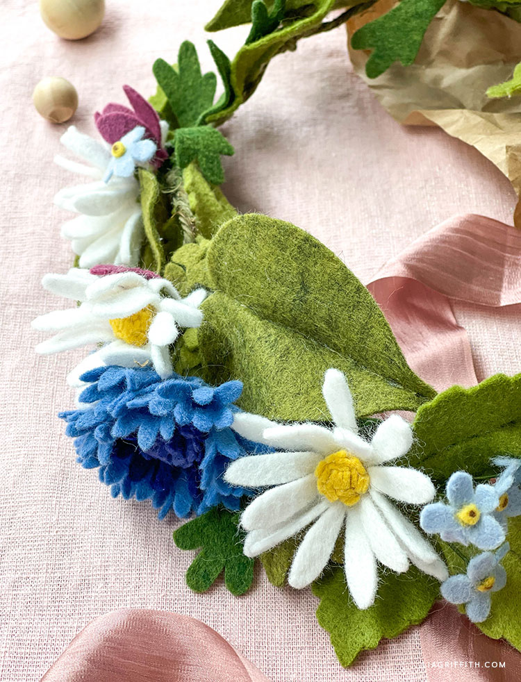 felt flower and leaf crown