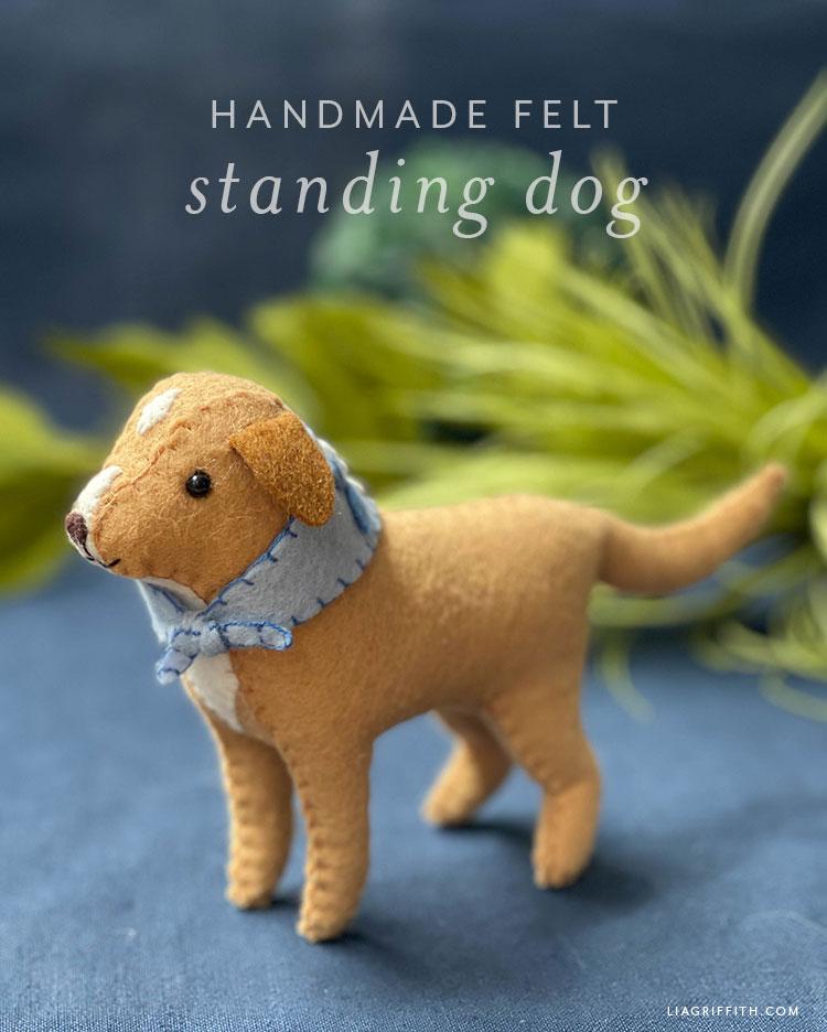 handmade felt standing dog