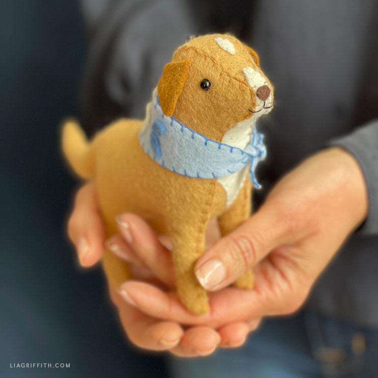 handmade felt dog stuffie